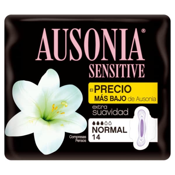 AUSONIA Compresas Sensitive Normal Alas 14 uds